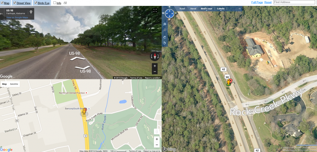 google maps 3 way view